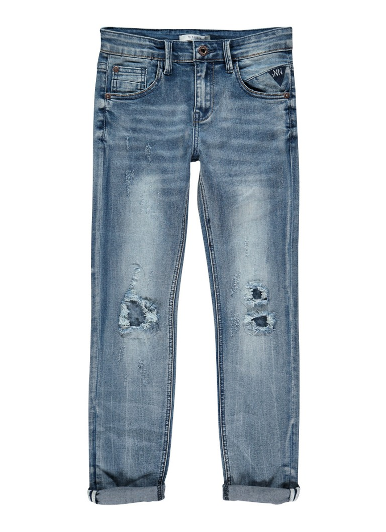 NIK and NIK Francis slim fit jeans met destroyed detail