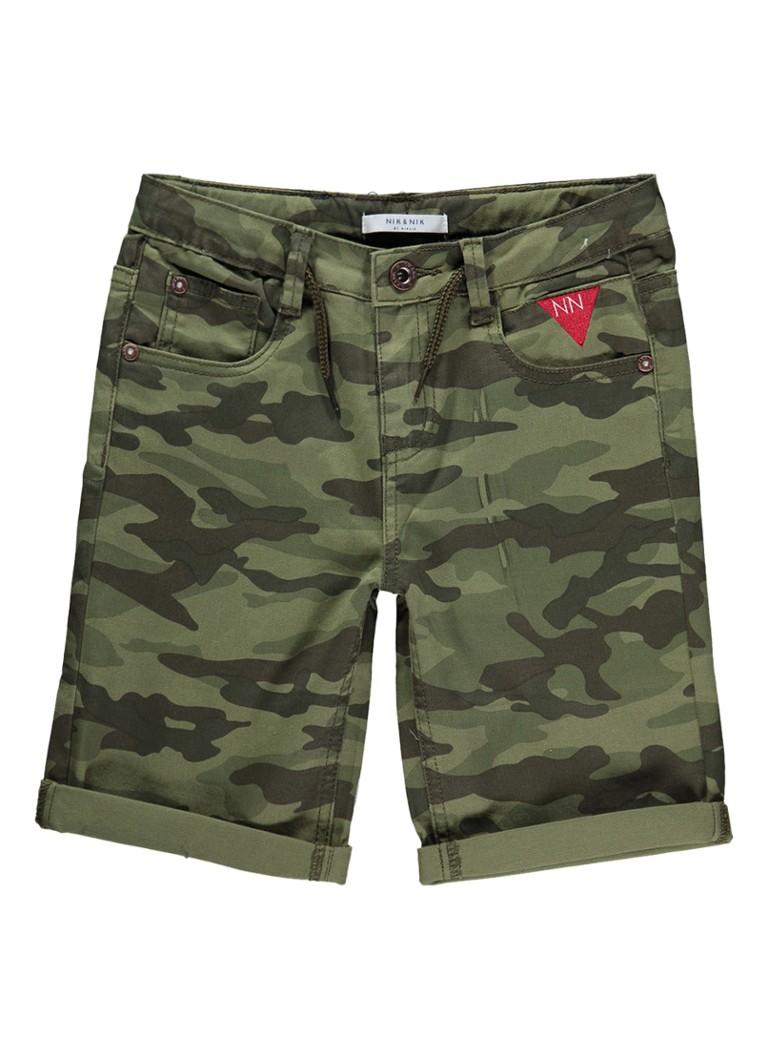 NIK and NIK Frederick shorts met camouflage print en trekkoord