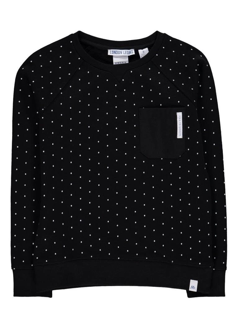 Truien en vesten NIKenNIK Maarten sweater met borstzak en stippendessin Zwart