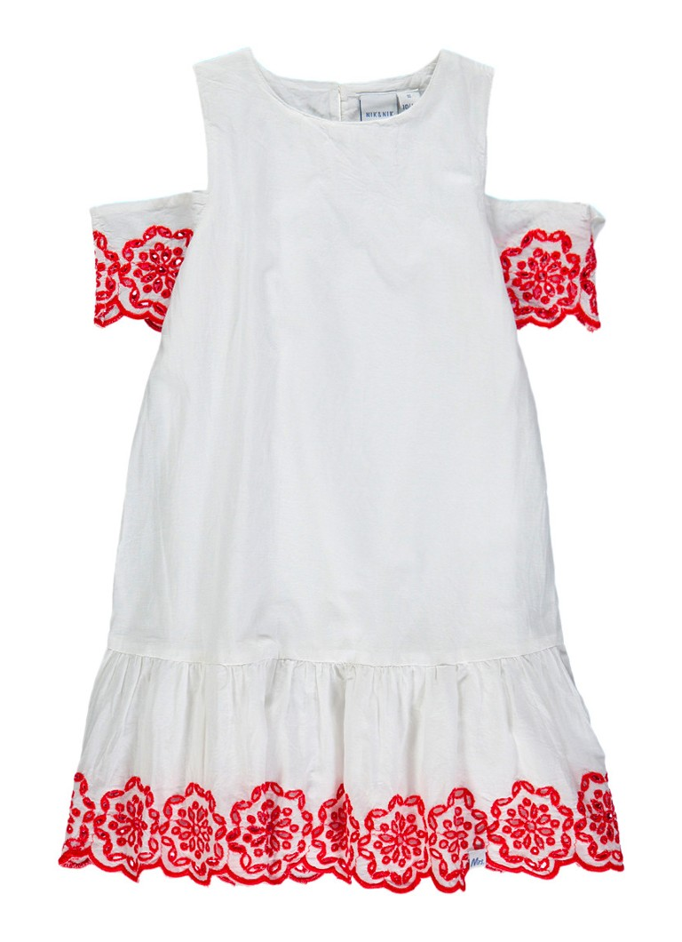 NIK and NIK Bianna jurk met cold shoulder en bloemborduring