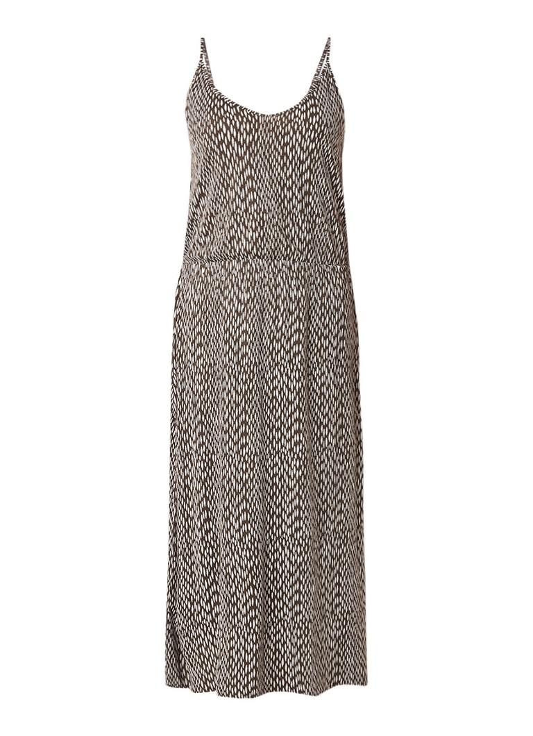 Moscow Maxi-jurk in linnenblend met dessin bruin