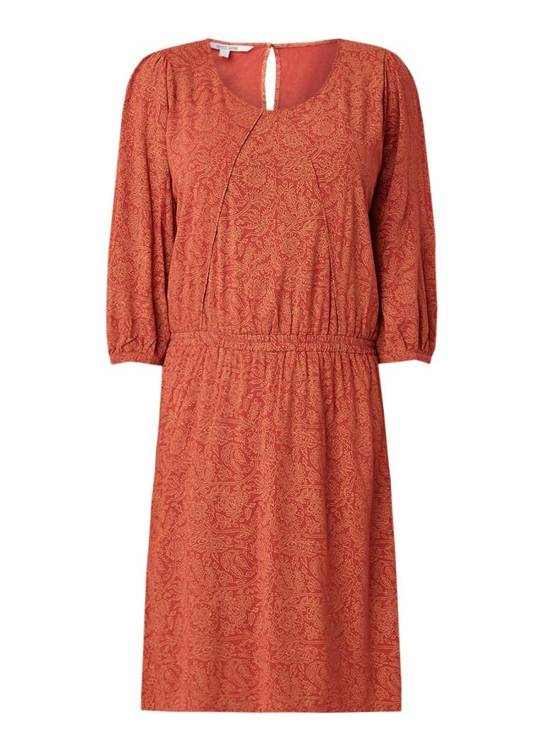 Moscow Midi-jurk met bloemendessin en elastische tailleband roestbruin