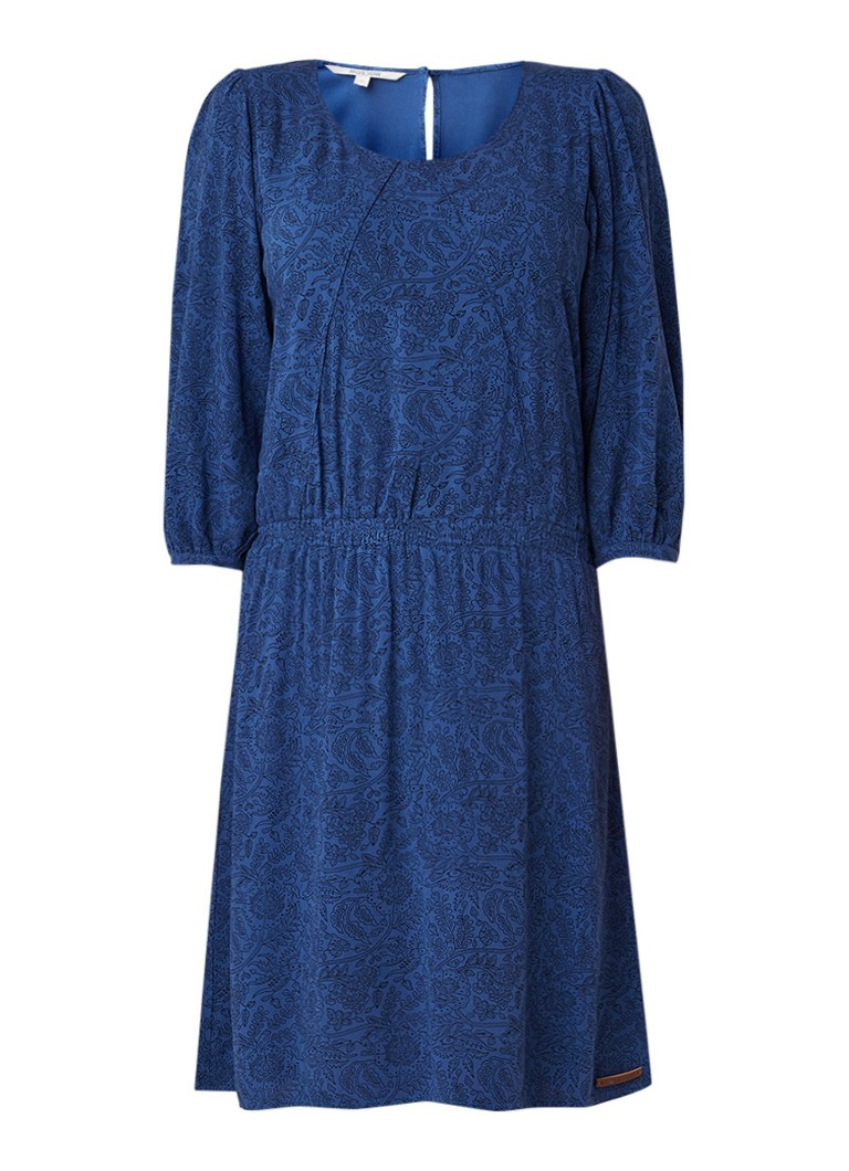 Moscow Midi-jurk met bloemendessin en elastische tailleband donkerblauw