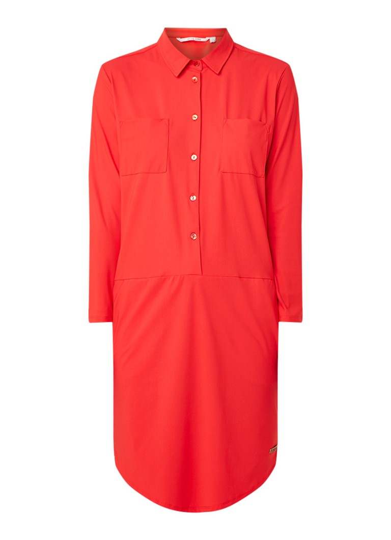 Moscow Travel blousejurk met steekzakken en stretch rood
