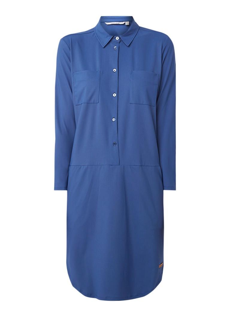 Moscow Travel blousejurk met steekzakken en stretch blauw