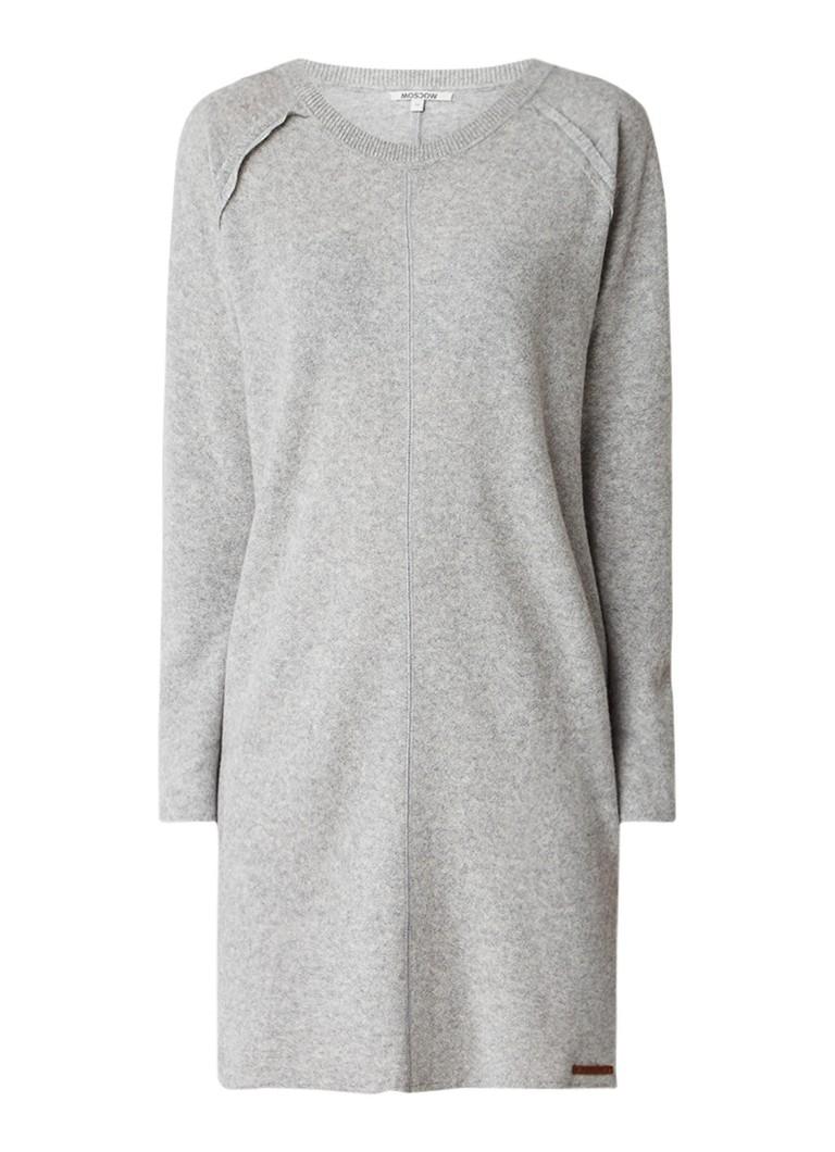 Moscow Fijngebreide trui-jurk van wol grijsmele