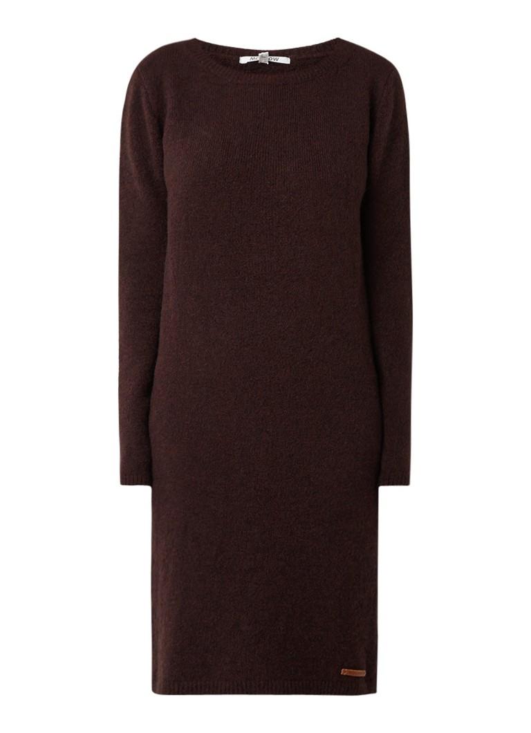 Moscow Grofgebreide midi-jurk in alpacawolblend bordeauxrood