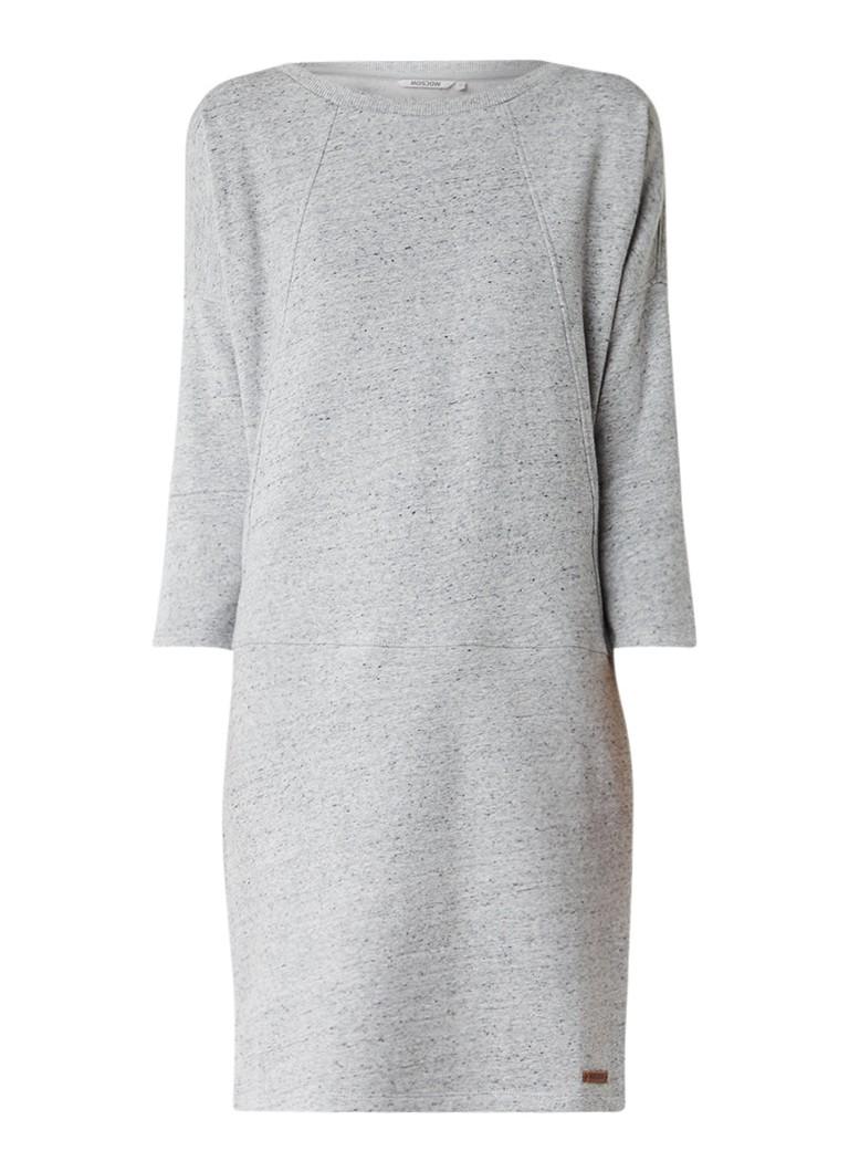 Moscow Gemêleerde sweaterjurk met siernaden middengrijs