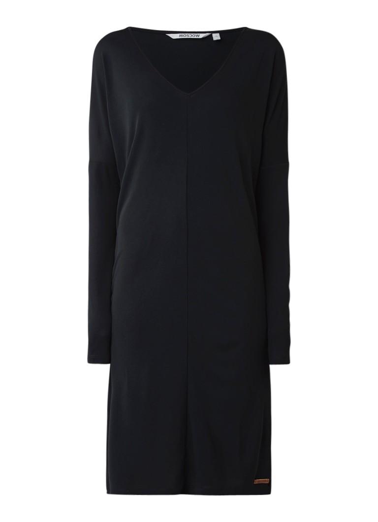 Moscow Longsleeve jurk van crêpe met V-hals zwart