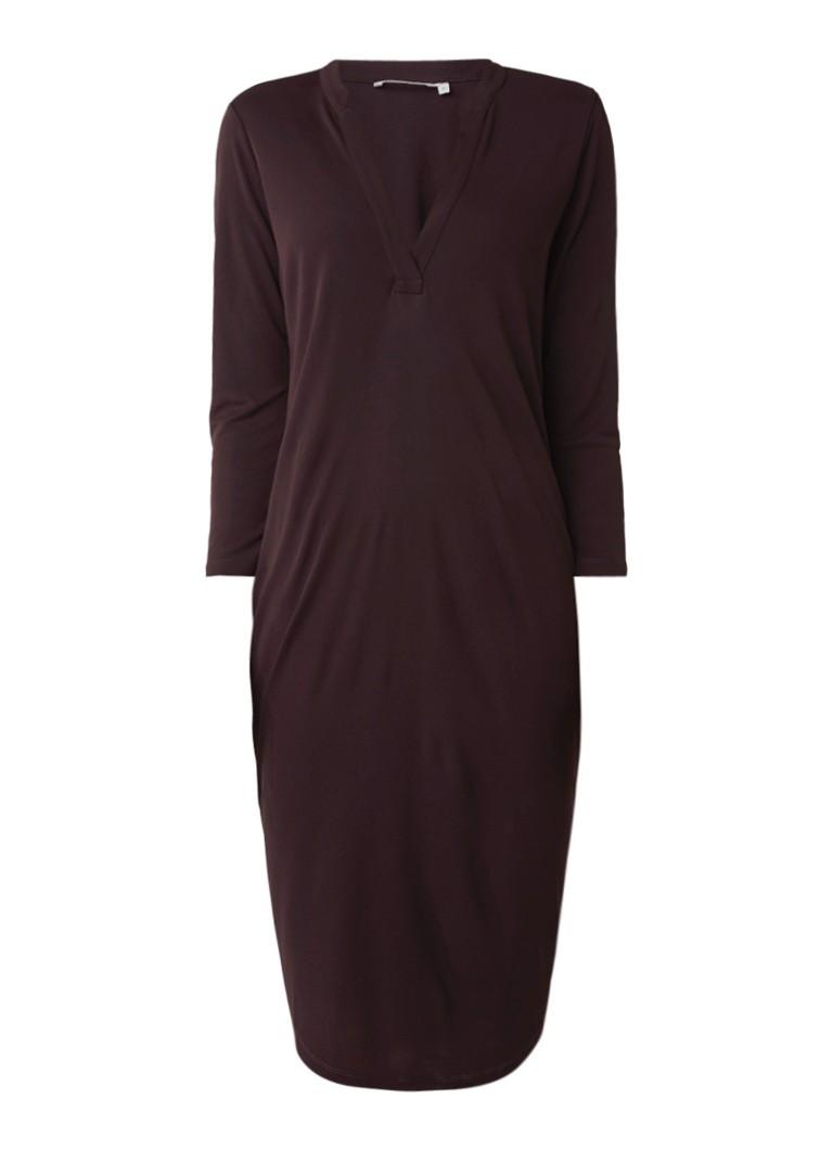 Moscow Midi-jurk met V-hals bordeauxrood