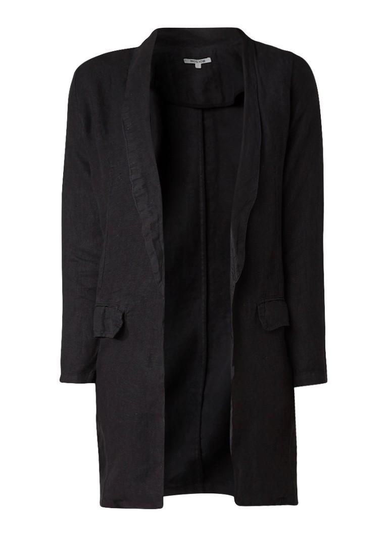 Moscow Openvallende blazer van linnen grijs
