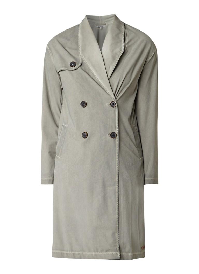 Moscow Garment dye blazer met trenchcoat look grijs
