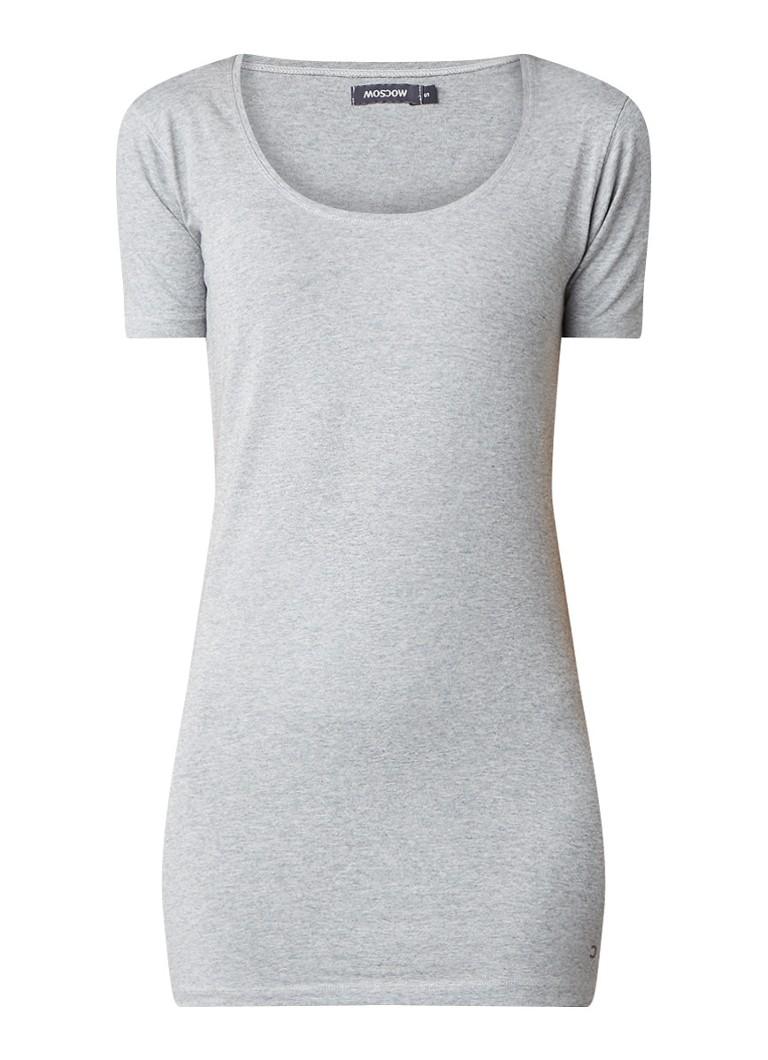 Moscow Basic longline T-shirt van stretchkatoen grijs