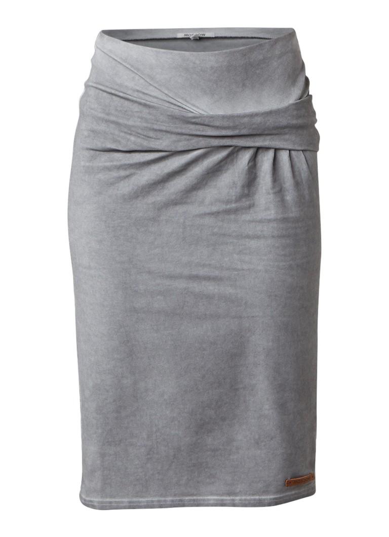 Moscow Gedrapeerde rok van jersey met garment dye grijs