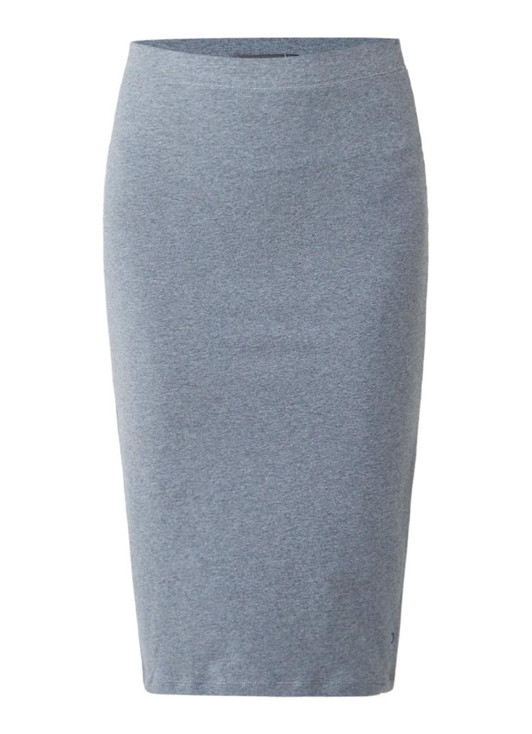 Moscow Gemêleerde midi-rok van stretchkatoen grijs