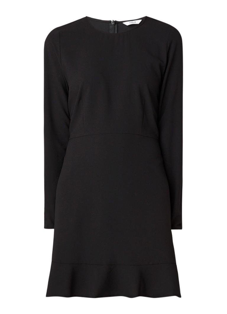 Envii Enrodin mini-jurk met volantzoom zwart
