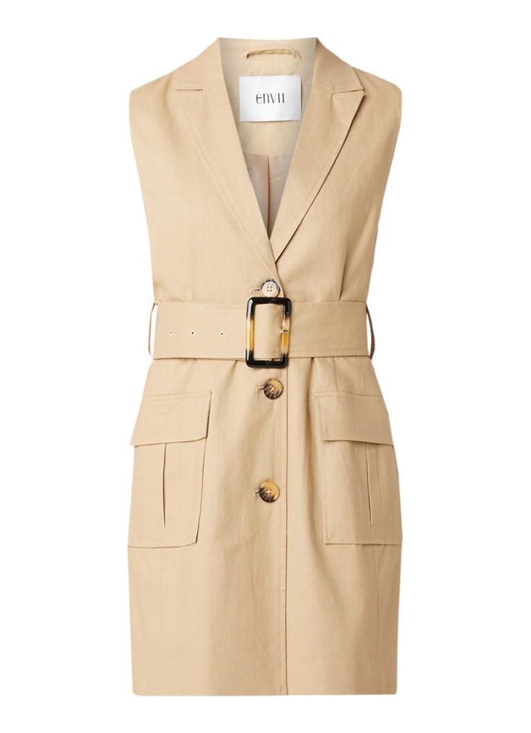 Envii Enfrancis mini-jurk in katoen linnenblend met ceintuur beige
