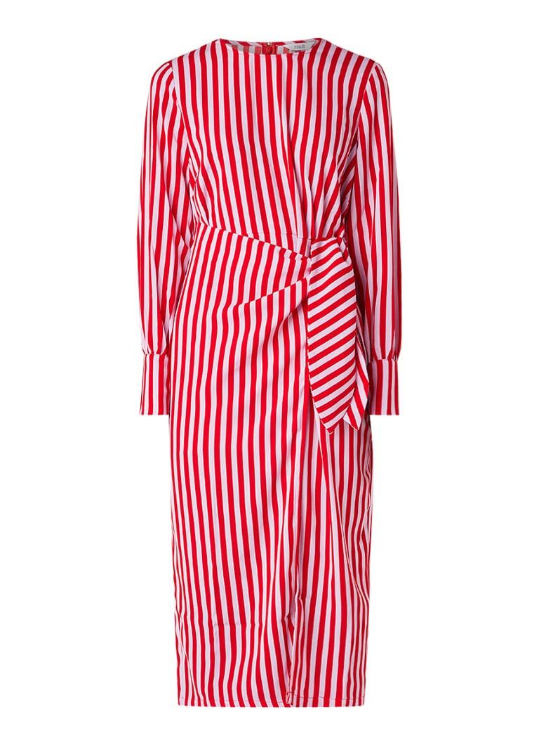 Envii Enbrick midi-jurk met strikceintuur en asymmetrische zoom multicolor