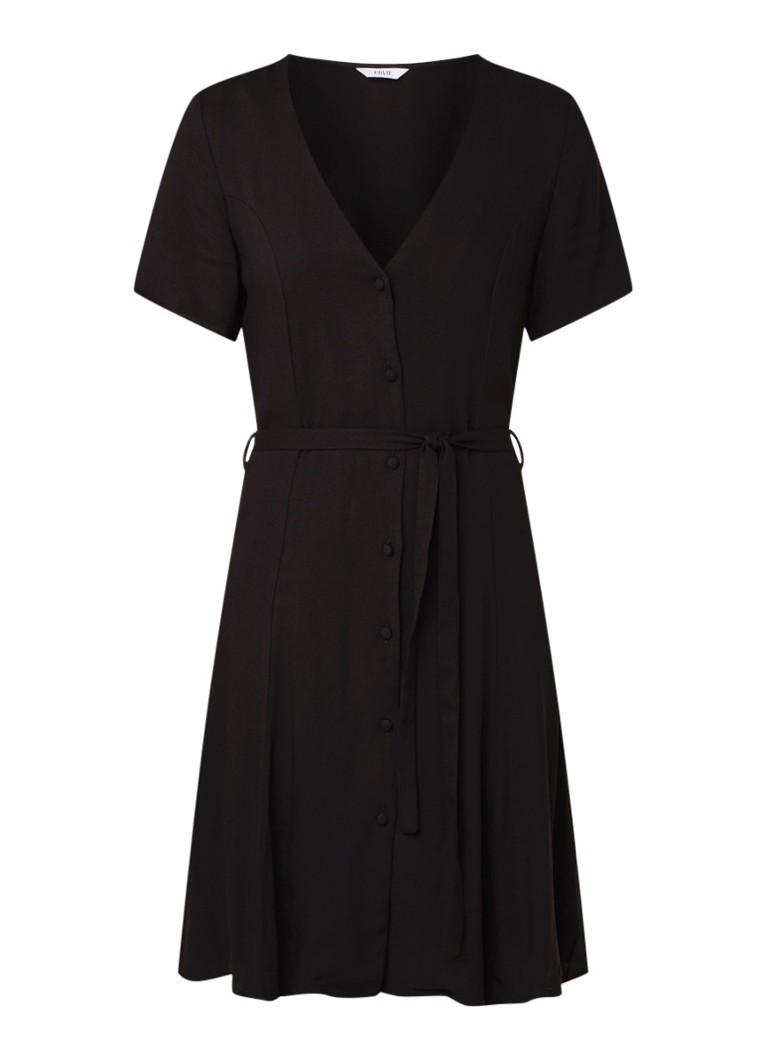 Envii Enfairfax blousejurk met strikceintuur zwart
