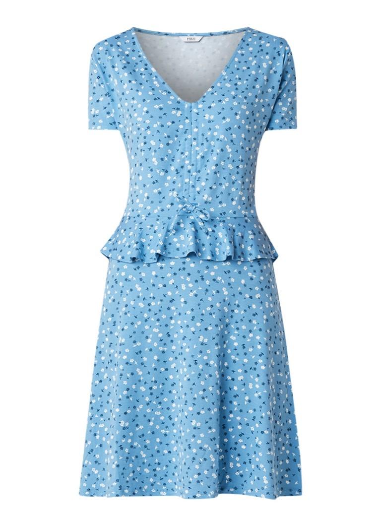 Envii Enhighland mini-jurk met bloemendessin en volant blauw