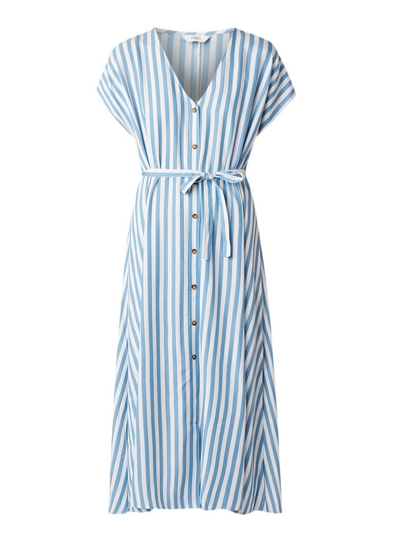 Envii Enmelrose blousejurk met V-hals en streepdessin lichtblauw
