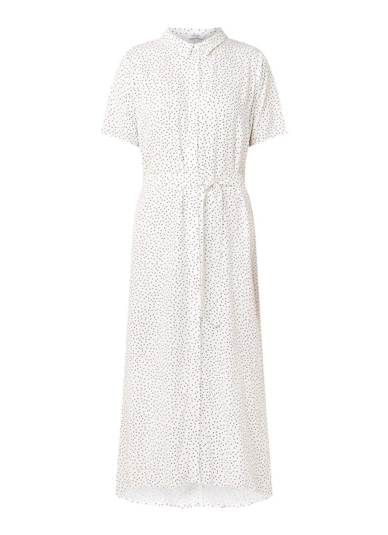 Envii Entribe blousejurk met stippendessin en strikceintuur wit
