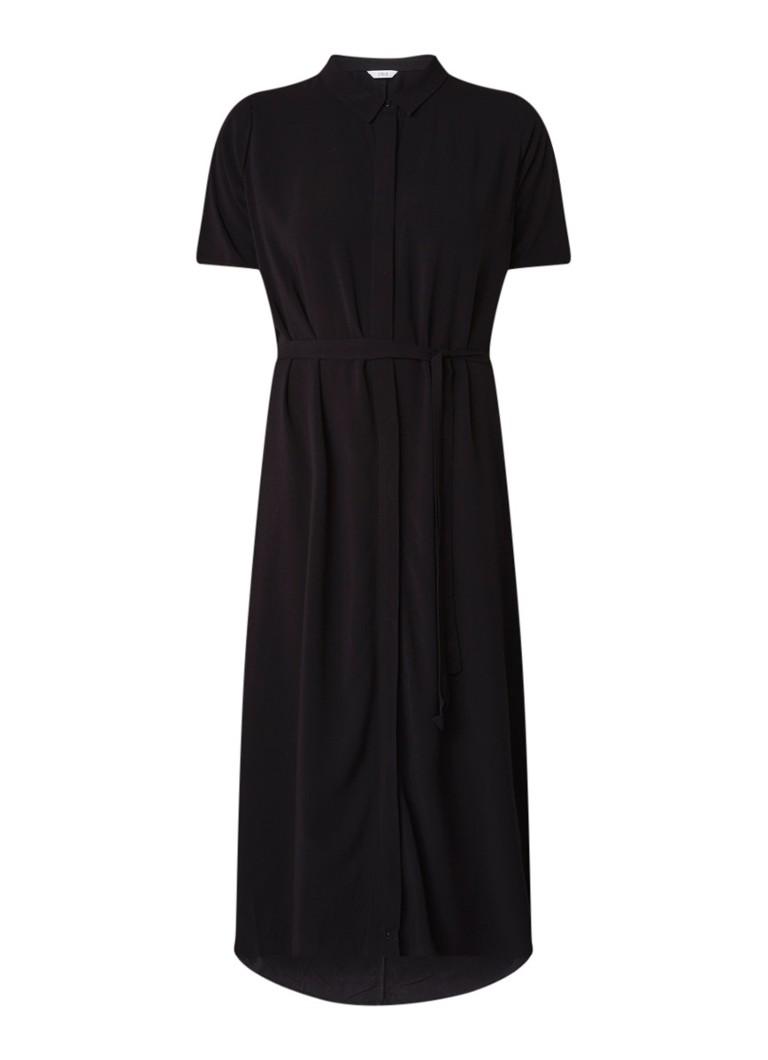 Envii Entrebe maxi blouse-jurk met strikceintuur zwart