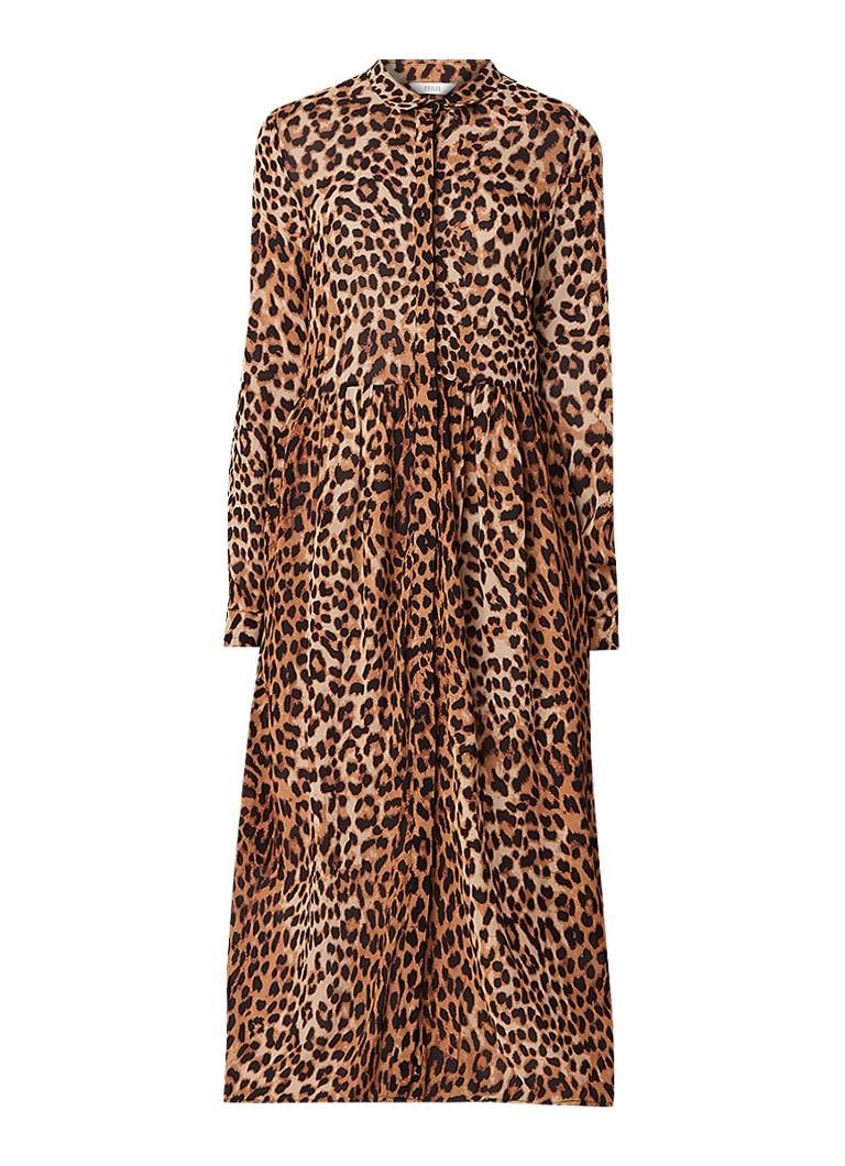 Envii Enmoore maxi blousejurk met luipaarddessin bruin
