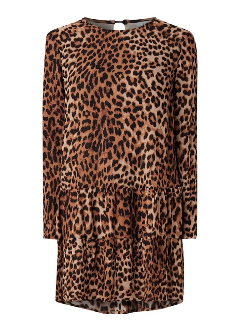 Envii Ensprings jurk met luipaarddessin lichtbruin