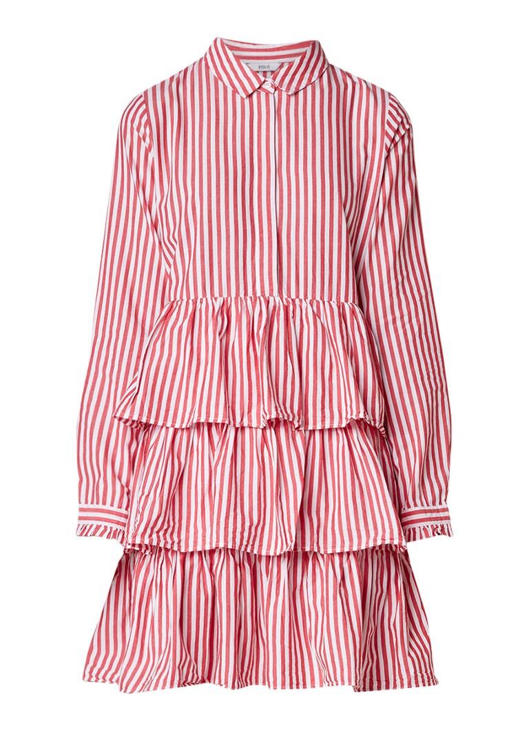 Envii Enpopcorn A-lijn jurk met streepdessin rood
