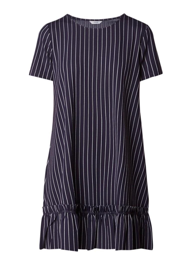 Envii Loose fit jurk met streepdessin en ruches donkerblauw
