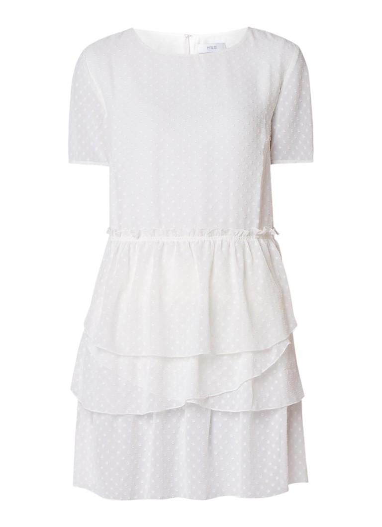 Envii Enemilio gelaagde jurk met stippendessin creme