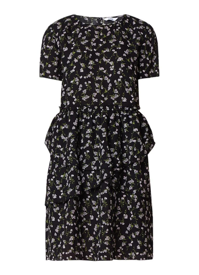 Envii Enemilio midi-jurk met volant en bloemendessin zwart