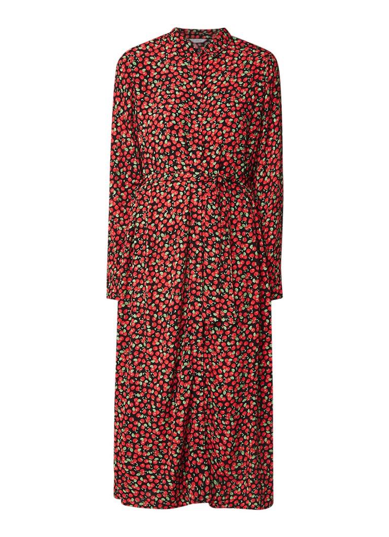 Envii Endate maxi blousejurk met appeldessin rood