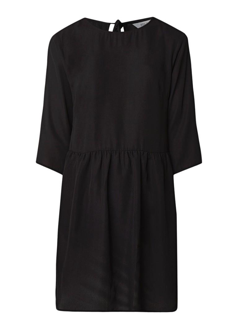 Envii Enmoore midi-jurk in satijn look met driekwartmouw zwart