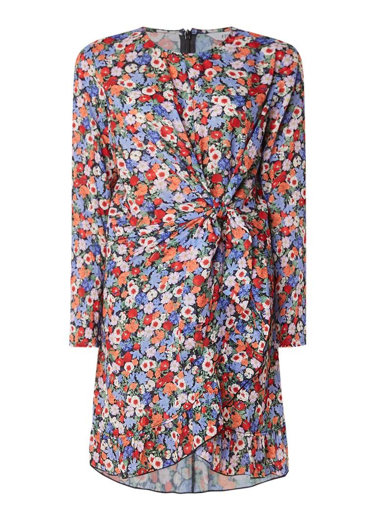 Envii Enwoolf jurk met bloemendessin en volant multicolor