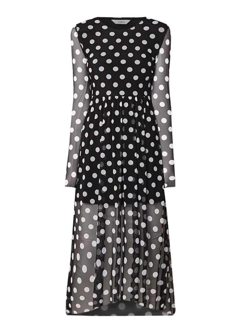Envii Enwilder semi-transparante maxi-jurk met stippendessin zwart