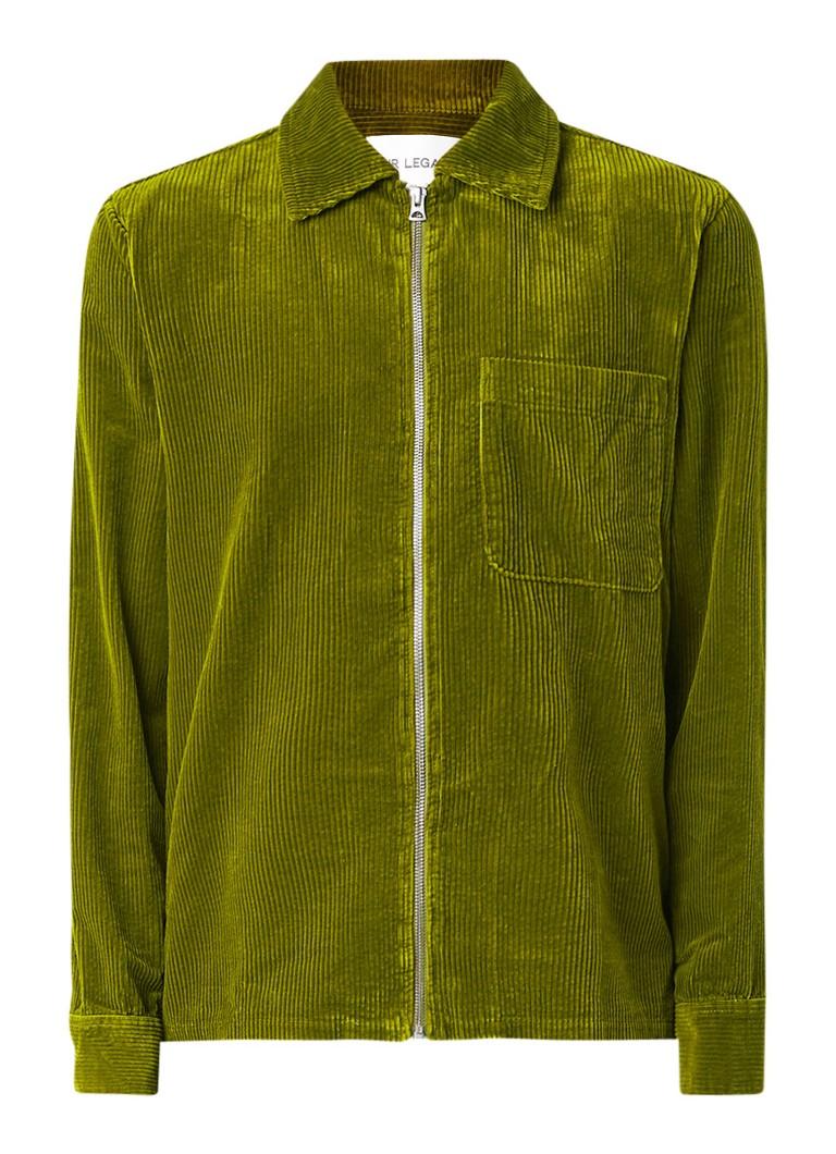 Our Legacy Overhemd van corduroy met rits en borstzak