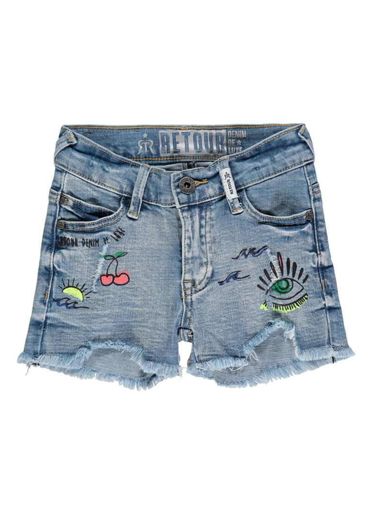 Retour Jeans Nusa shorts van denim met gerafelde afwerking