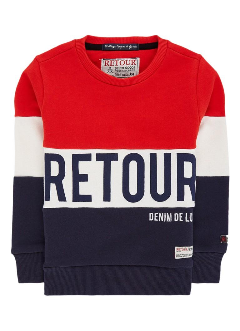 Retour Jeans Bruce sweater met colour blocking en logoprint