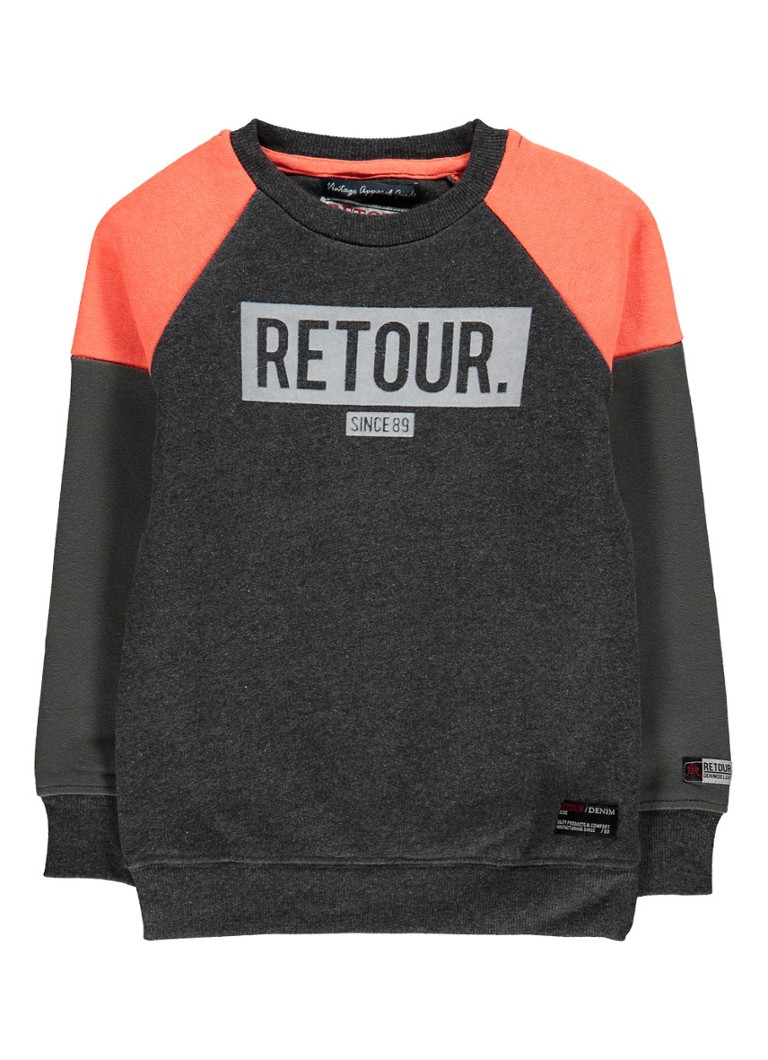 Retour Jeans Sjoerd sweater met logoprint en colour blocking