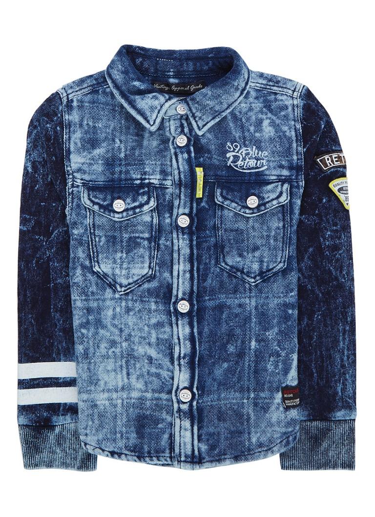 Retour Jeans Delvin overhemd van denim met patches