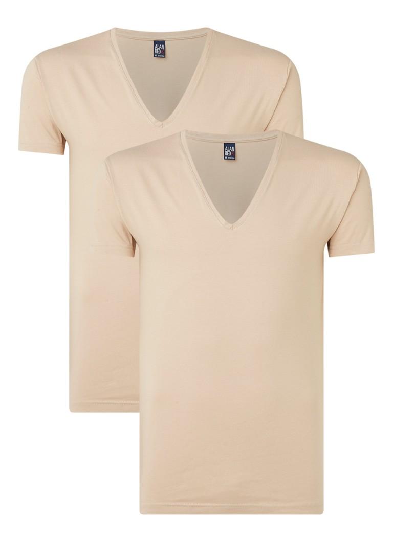 Alan Red Nov body fit T-shirt met V-hals in -pack
