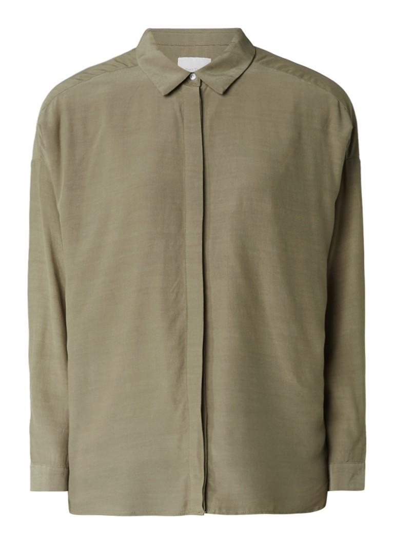 Tops Part Two Ianera losvallende blouse met verhulde knopenrij Olijfgroen