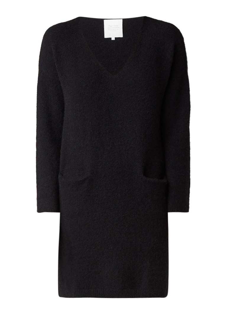 Part Two Jezibelle trui-jurk in alpaca wolblend met steekzakken zwart