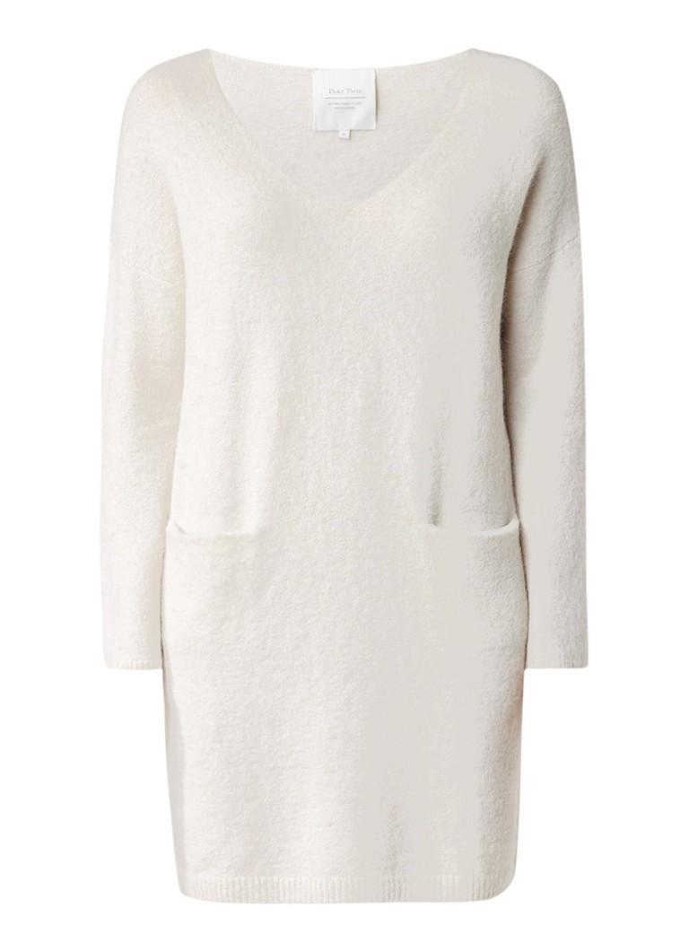 Part Two Jezibelle trui-jurk in alpaca wolblend met steekzakken gebroken wit