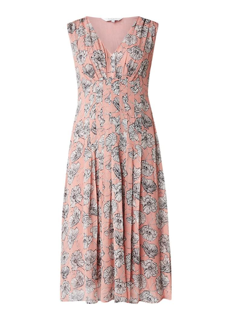Part Two Iphi geplooide A-lijn jurk met bloemendessin oudroze