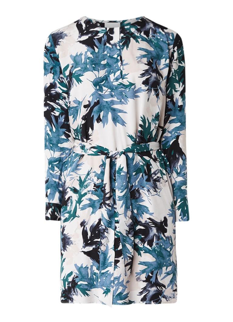 Part Two Isti A-lijn jurk met bladdessin en strikceintuur blauw