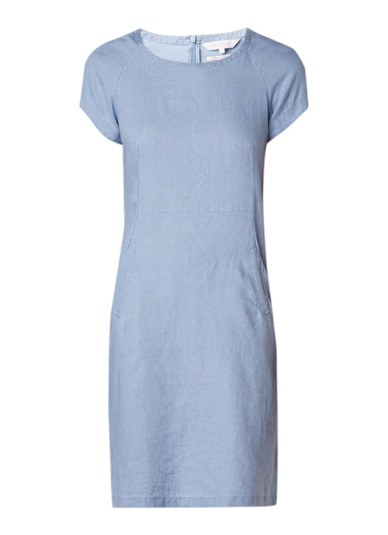 Part Two Aundreas tuniekjurk van linnen met steekzak lichtblauw