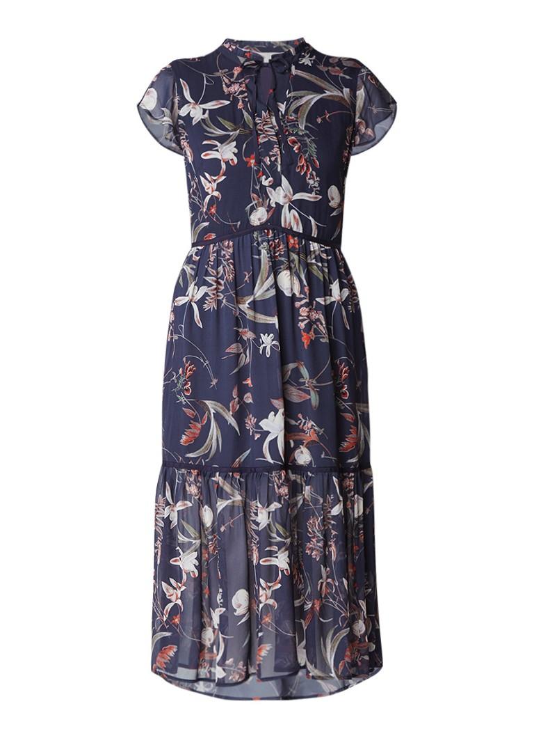 Part Two Landea maxi-jurk met volant donkerblauw